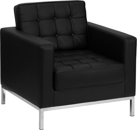 "Flash Furniture HERCULES Lacey Series ZB-LACEY-831-2-CHAIR-XX-GG 33"" Reception Chair with LeatherSoft Upholstery, Stainless Steel Legs and Button Tufted Seat & Back in"