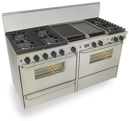"""FiveStar TPN6377 60"""" Freestanding Dual Fuel-Liquid Propane Range With 6 Sealed Ultra High-Low Burners, Two 3.69 Cu. Ft. Convection Oven, Self Cleaning, Broiler Drawer, Double Sided Grill/Griddle, In"""