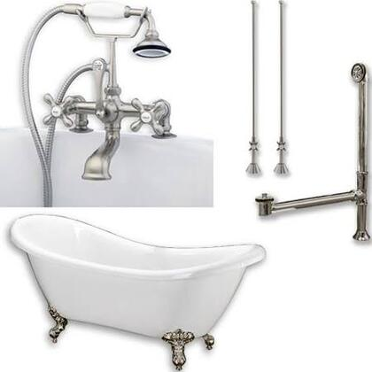 "Cambridge ADES463D2PKGXX7DH Acrylic Double Ended Clawfoot Bathtub 68"" x 30"" with no Faucet Drillings and Complete Plumbing Package"