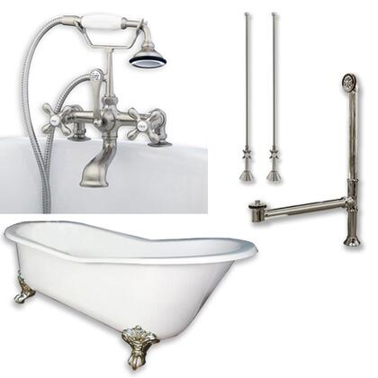 """Cambridge ST67463D2PKGXX7DH Cast Iron Slipper Clawfoot Tub 67"""" x 30"""" with 7"""" Deck Mount Faucet Drillings and Complete Plumbing Package"""