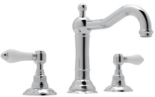Rohl A1409LP Italian Country Bath Collection Acqui Deck Mounted Column Spout Lavatory Faucet with 1.2 GPM Water Flow and Porcelain Levers in