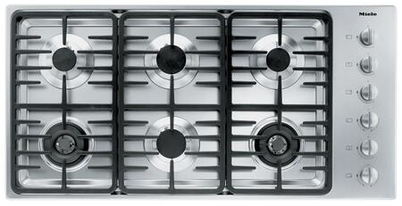 "Miele KM3485 42"" Cooktop with 6 Sealed Burners, Linear Grates, Wok Burner, Ignition Safety Control, Fast Ignition System, Stainless Steel Knobs and 73,800 BTU Total Output: Stainless Steel"