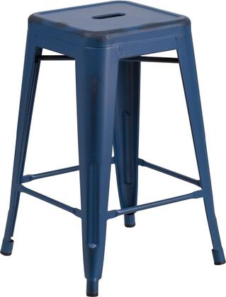 Flash Furniture ET-BT3503-XX-AB-GG X High Backless Distressed Metal Indoor-Outdoor Barstool with Protective Floor Glides and Stretchers in Antique Blue