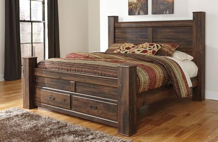 Signature Design by Ashley B246PSBD Quinden Size Poster Bed with 2 Drawer Storage, Framed Panels, Horizontal Slat Details and Replicated Oak Grain in Dark Brown Finish
