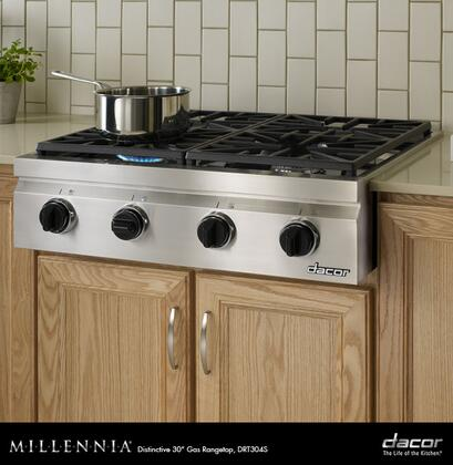 "Dacor DRT304SNGH 30"" Distinctive Series Gas Sealed Burner Style Cooktop"