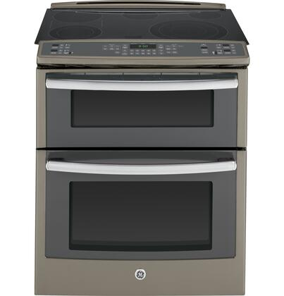 """GE Profile PS950 30"""" 6.6 cu. ft. Capacity Slide-In Double Oven Electric Range with True European Convection, Expandable Bridge Zone, Glass Touch Controls and Self-Clean Roller Rack"""