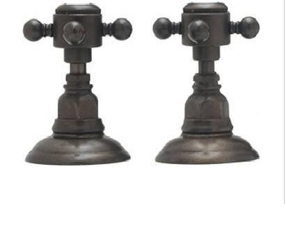 """Rohl A1411XC Country Bath Collection Set of Hot and Cold 1/2"""" Sidevalves, Swarovski Crystal Cross Handles:"""