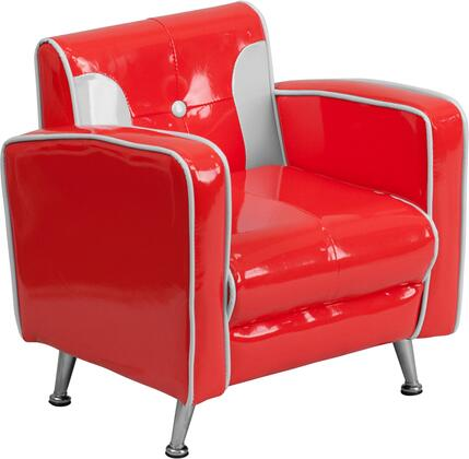 Flash Furniture HR3xGG Kids Red and White Chair with Fire Retardant Foam, Easy-to-Clean Red and White Vinyl Upholstery, Black Bottom Dust Cover and Chrome Feet in Red & White