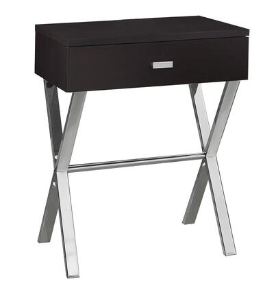 """Monarch I326XAT 18"""" Nightstand with Chrome Metal X Base Legs, Stretcher and Drawer in"""