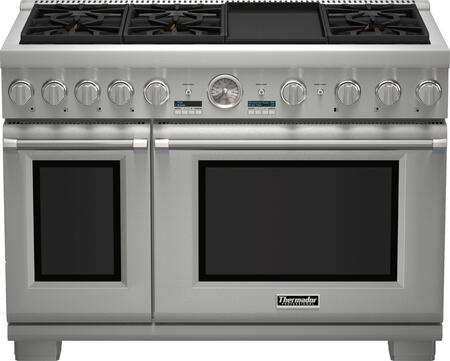 "Thermador PRX486JDG 48"" CSA Certified PRO Grand Professional Series Range With 6 Patented Star Burners, 7.9 cu. ft. Total Oven Capacity, ExtraLow Simmer Burners, SoftClose Hinges, And Griddle: Stainless Steel"