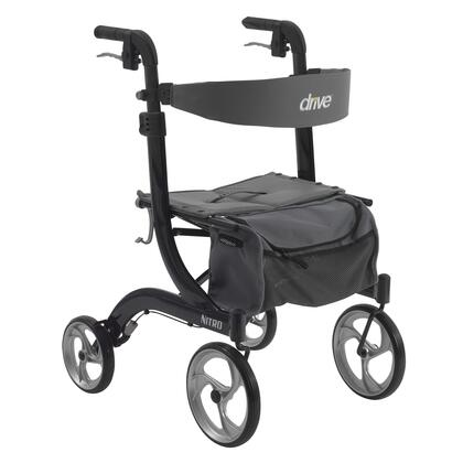 "Drive Medical Nitro Aluminum Rollator with 10"" Front Casters, Back Support, Cross Base Design, Removable Zippered Storage Bag and Aluminum Frame in"