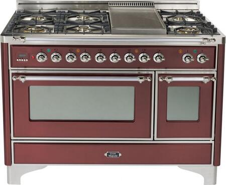 """Ilve UM1207MPRBX 48"""" Majestic Series Dual Fuel Freestanding Range with Sealed Burner Cooktop, 2.8 cu. ft. Primary Oven Capacity, Warming in Burgundy"""