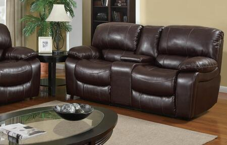 Global Furniture USA U8122Burgundy950L Leather Reclining with Wood Frame Loveseat