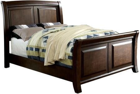 Furniture of America Litchville CM7383X Bed with Contemporary Style and Sleigh Bed in Brown Cherry