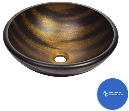 """Kraus CGV69519MM1005 Nature Series 17"""" Bastet Round Vessel Sink with 19-mm Tempered Glass Construction, Easy-to-Clean Polished Surface, and Included Riviera Faucet"""