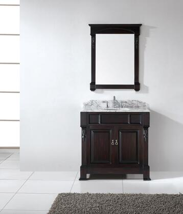 "Virtu USA GS-4036 Virtu USA 36"" Huntshire Single Sink Bathroom Vanity in Dark Walnut with Italian Carrara White Marble"
