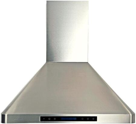 """Cavaliere AP238PS Wall Mount Range Hood With Adjustable Airflow, Three Stainless Steel Baffle Filters, 6"""" Round Duct Vent, 4 Speed Levels, Delayed Power Auto Shut Off In Stainless Steel"""