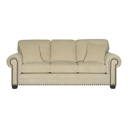 """Bassett Furniture Riverton Collection 3995-62FC/FC122-x 93"""" Sofa with Fabric Upholstery, Nail Head Accents, Rolled Padded Arms and Traditional Style in"""