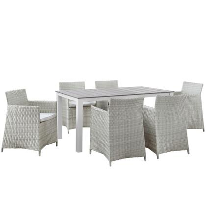 Modway Junction Collection EEI-1748- 7-Piece Outdoor Patio Dining Set with Dining Table and 6 Armchairs in