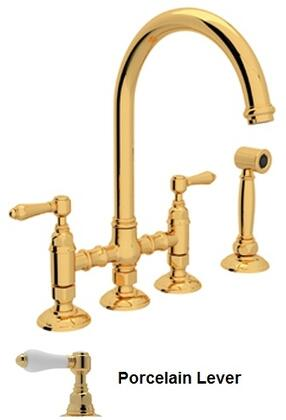 """Rohl A1461LPWS-2 Italian Country Kitchen Collection Deck Mounted C-Spout Bridge Kitchen Faucet with Sidespray, 8"""" Reach, 1.5 GPM Water Flow and Porcelain Levers in"""