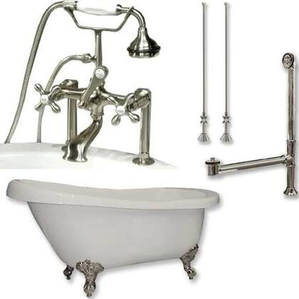 "Cambridge AST61463D6PKGXX7DH Acrylic Slipper Bathtub 61"" x 30"" with 7"" Deck Mount Faucet Drillings and Complete Plumbing Package"