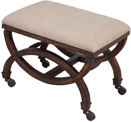 Sterling 7011018 Bench Series Accent Armless Wood Fabric Bench