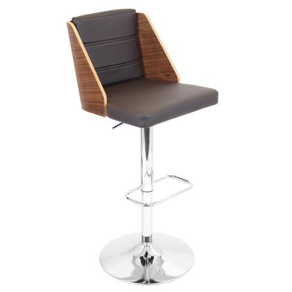 "LumiSource Galanti BS-JY-GAL 39"" - 44"" Barstool with 360 Degree Swivel, Adjustable Height and PU Leather Upholstery in"