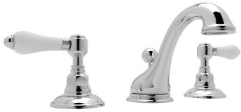 Rohl A1408LP Italian Country Bath Collection Viaggio Deck Mounted C-Spout Lavatory Faucet with 1.2 GPM Water Flow and Porcelain Levers in