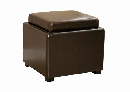 Wholesale Interiors D219DU001 Tate Series Contemporary Leather Ottoman
