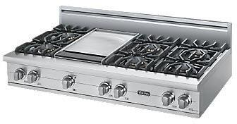 """Viking VGRT5486GS 48"""" Professional 5 Series Gas Rangetop with 6 Sealed Burners and Griddle, VSH Variable Burner System and SureSpark Ignition System, in Stainless Steel"""