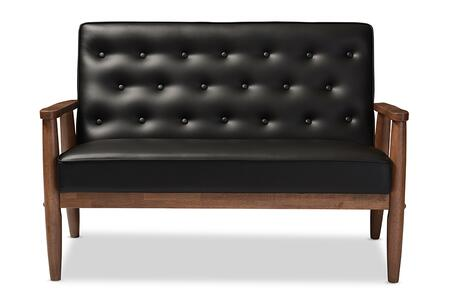 Wholesale Interiors Sorrento BBT8013BLACKLOVESEAT Front View