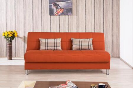 Casamode ECPLSB Convertible Armless Sofa Bed with Matching Pillows, Under Seat Storage, Polished Metal Legs and Tufted Detailing in