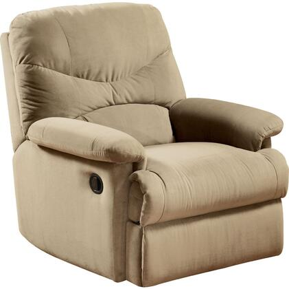 Acme Furniture 0062 Arcadia Recliner with Plush Padded Pillow Arms, Split Back Cushions and Microfiber Upholstery in