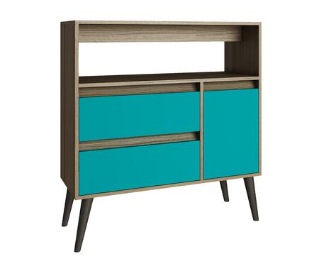 Accentuations 5AMC1 Accentuations by Manhattan Comfort Functional Gota High Side Table with 1 - Shelf, 2 - Drawers and 1 - Door