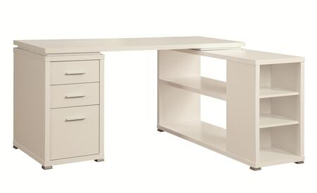 """Coaster Yvette 60"""" L-Shape Desk with 2 Drawers, File Cabinet, Reversible Set-Up, Euro Glides and Silver Metal Hardware in"""