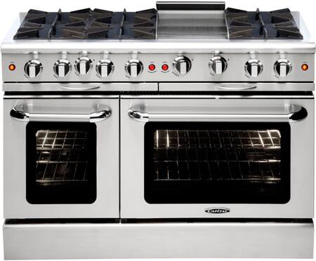 """Capital MCOR486GL 48"""" Culinarian Series Stainless Steel Gas Freestanding Range with Open Burner Cooktop, 4.9 cu. ft. Primary Oven Capacity,"""