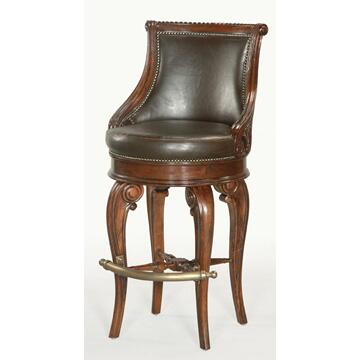 Ambella 03500510002 Residential Leather Upholstered Bar Stool |Appliances Connection
