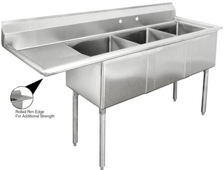 "Advance Tabco FE-3-1824 Lite Series Three-Compartment Fabricated Sink with 18"" x 24"" Bowl and Backsplash in Stainless Steel"