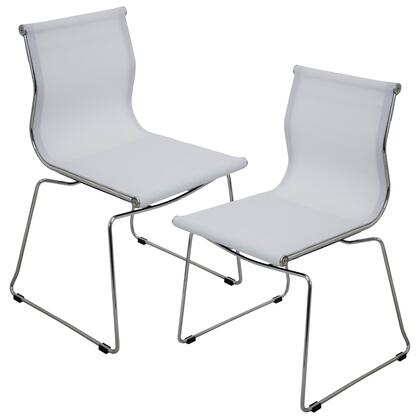 "LumiSource Mirage CH-MIRAGE Set of (2) 32"" Stackable Dining Chair with Mesh Fabric Upholstery, Chrome Base and Stackable Design in"