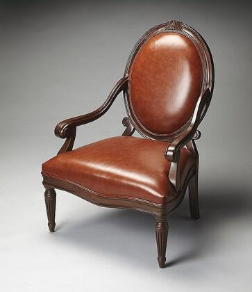 Butler 9505993 Accent Chair Series Bi-cast Leather Hand Carved Solid Hardwood Frame Accent Chair