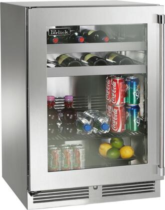 """Perlick HP24CS33x 24"""" Signature Series Indoor Compact Refrigerator with Rapidcool Forced Air Refrigeration System, 995 BTU Commercial Grade Speed Compressor and Stainless Steel Interior, in Glass Door Stainless Steel with"""