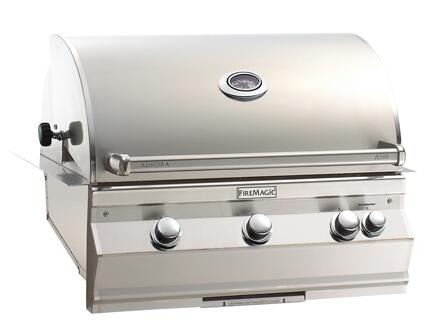 """FireMagic A540I5EXX Aurora 36.5"""" Built-In Grill with 540 sq. in. Cooking Surface, Interior Halogen Lights, E-Burners and Digital or Analog Thermometer, in Stainless Steel"""