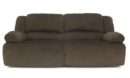 Milo Italia Esteban MI-2742BTMP 2 Seat Reclining X Sofa with Bustle Back Design, Thick Pillow Top Arms, Textured Fabric Upholstery and Metal Drop-In Unitized Seat Box in Chocolate