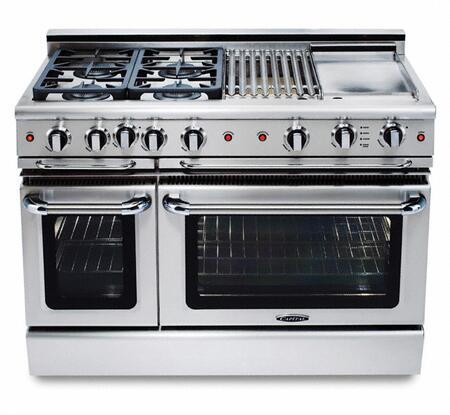 "Capital GSCR486QN 48"" Precision Series Gas Freestanding Range with Sealed Burner Cooktop, 4.6 cu. ft. Primary Oven Capacity, in Stainless Steel"