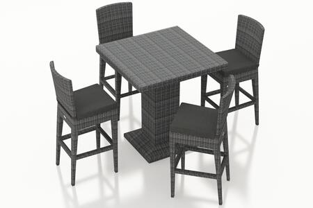 Harmonia Living District Collection HL-DIS-TS-5BCS- 5-Piece Bar Chair Set with Bar Table, 4x Bar Chairs and