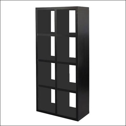 Linon 80587BLK01KDU Hollowcore Series Wood 8 Shelves Bookcase