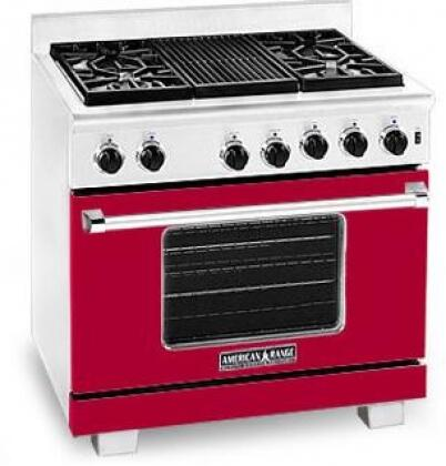 American Range ARR364GRLBR Heritage Classic Series Liquid Propane Freestanding Range with Sealed Burner Cooktop, 5.6 cu. ft. Primary Oven Capacity, in Red