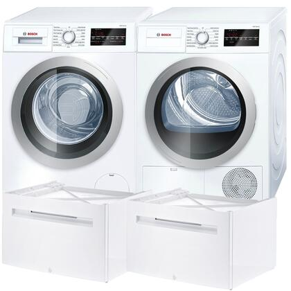 Picture of 500 Series White Front Load Compact Laundry Pair with WAT28401UC 24 Washer  WTG86401UC 24 Electric Condensation Dryer and 2 WMZ20490