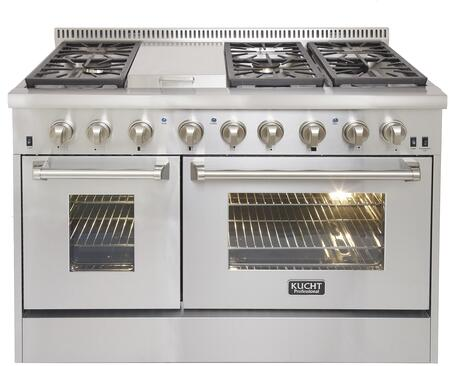 """Kucht KRD486Fx 48"""" Professional Freestanding Dual Fuel Range with 6 Sealed Burners and Griddle, Dual Ovens with 6.7 cu. ft. Oven Capacity, 4"""" Stainless Steel Backsplash, Convection and Halogen Lights, in Stainless Steel"""