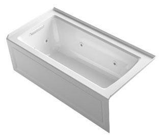 "Kohler K-1947-LA Archer 60"" x 30"" Alcove Whirlpool with Integral Flange, Integral Apron and Left-Hand Drain in"